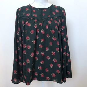 LOFT Floral Forest Green Long Sleeve Blouse Small